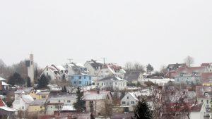 Schneebedecktes Eisingen am 18. März 2018 um 12:04 Uhr