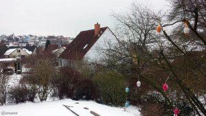 Astronomischer Frühlingsanfang mit Schnee in Eisingen am 20. März 2018 um 15:43 Uhr