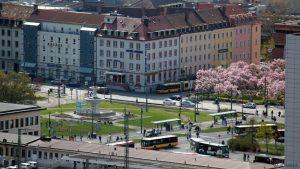 Würzburg: Blick auf den Bahnhofsvorplatz und den Busbahnhof