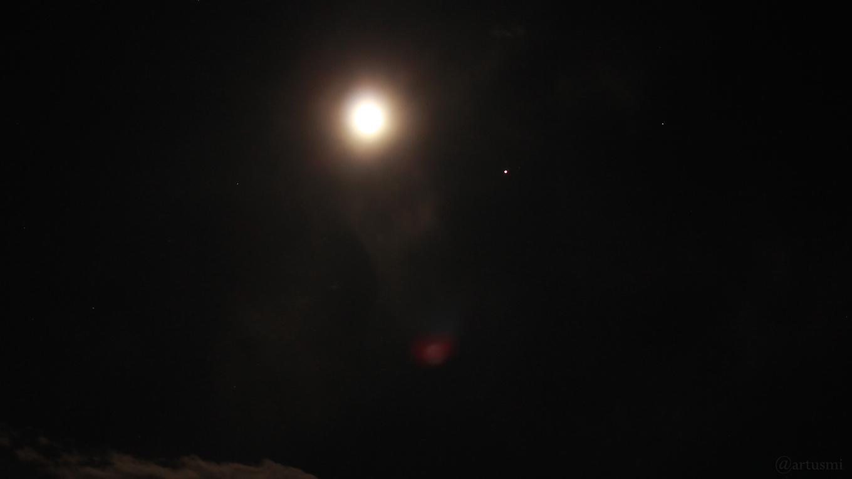Mond und Jupiter am 1. Mai 2018 um 00:46 Uhr