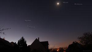 Konstellation von Mars, Venus und Jupiter am 3. November 2015