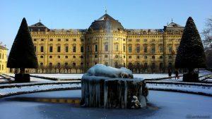 Hofgarten und Residenz in Würzburg am 22. Januar 2016