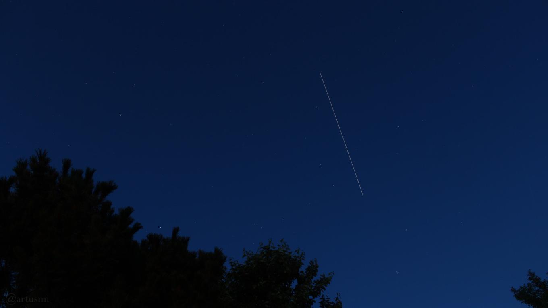 Überflug der Internationalen Raumstation ISS am 1. Juni 2018 um 22:25 Uhr am Osthimmel von Eisingen