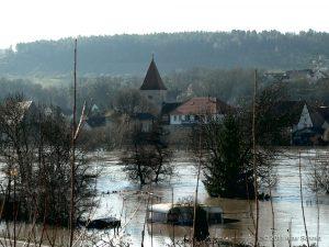 Hochwasser am 16.01.2011 bei Winterhausen.
