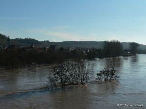Hochwasser am 16.01.2011 bei Sommerhausen.