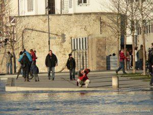 Hochwasser am 16.01.2011 in Würzburg. Oberer Mainkai Einmündung Wirsbergstraße.