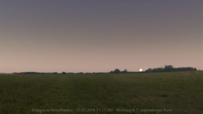 Erste Sichtbarkeit des verfinsterten Mondes am 27. Juli 2018 um 21:12 Uhr