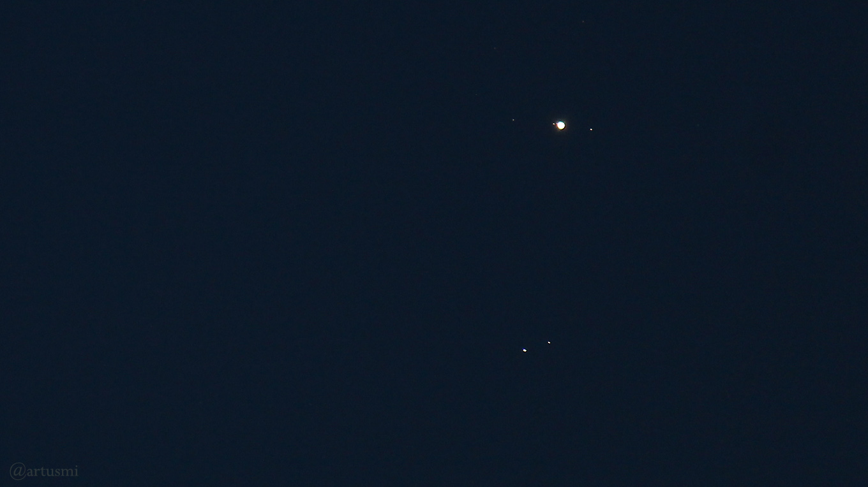 Jupiter mit den galileischen Monden und Doppelstern Zubenelgenubi am 16. August 2018 um 21:27 Uhr