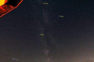 Teil der Milchstraße mit Mars und Sommerdreieck am 4. Oktober 2018 um 21:23 Uhr