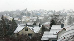 Schneefall in Eisingen am 3. Adventssonntag 2018