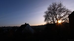 Sonnenuntergang in Eisingen am 28. Dezember 2018