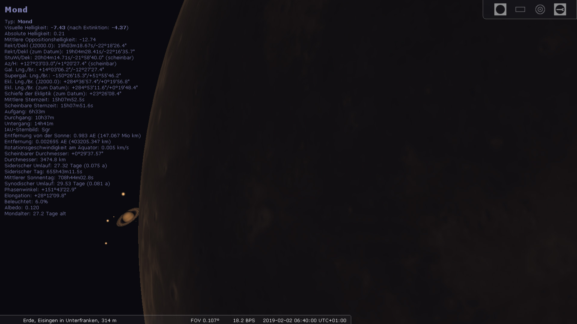 Mond bedeckt Saturn am 2. Februar 2019