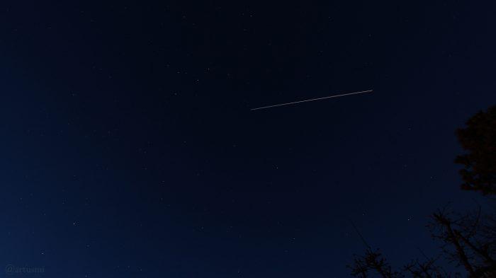 Strichspur der Internationalen Raumstation ISS am 31. Januar 2019 um 18:16 Uhr am Nordhimmel