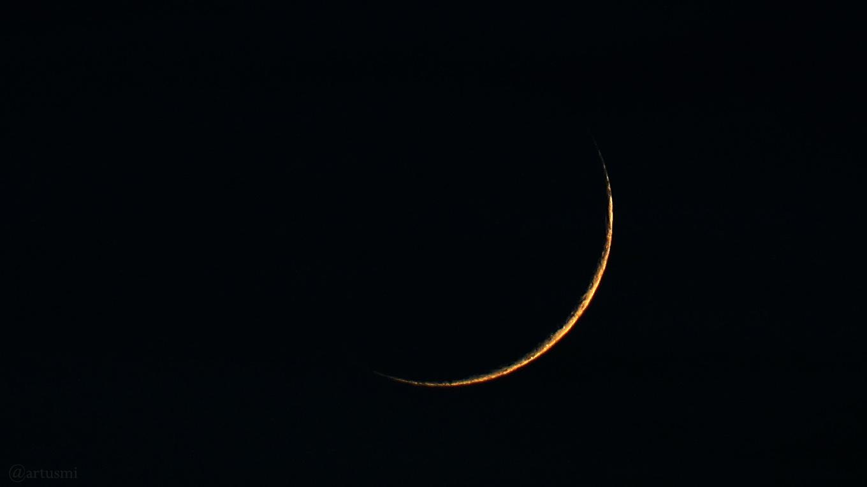 Schmale Mondsichel nach Neumond am 6. Februar 2019 um 18:04 Uhr