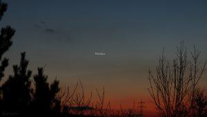 Merkur am 19. Februar 2019 um 18:31 Uhr am Westhimmel
