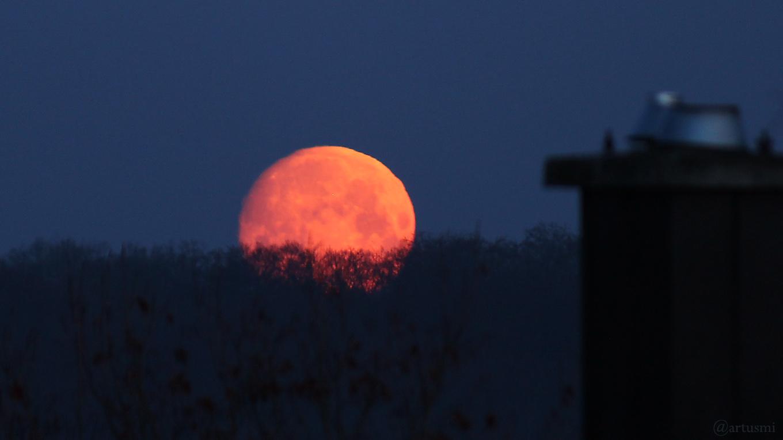 Untergehender Mond am 19. März 2019 um 05:53 Uhr