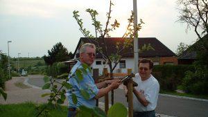 Robert Bromma und Helmuth Hemmerich nach der Pflanzung des Apfelbaums aus Bernières-sur-Mer am 3. Juni 2003