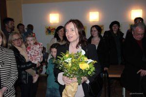 Dankesworte der 1. Bürgermeisterin Ursula Engert nach der gewonnenen Bürgermeisterwahl im Schulhaus Eisingen.
