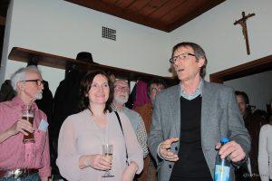 1. Bürgermeisterin Ursula Engert und 2. Bürgermeister Eberhard Blenk auf der Wahlparty der UBE im TSV-Sportheim.