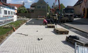 Baustelle und Container der Kita im Wiesengrund am 14. April 2014