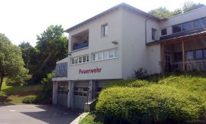Feuerwehrgerätehaus an der Erbach-Halle am 14. Mai 2015