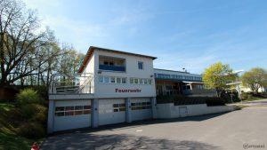 Feuerwehrgerätehaus an der Erbach-Halle am 18. April 2018