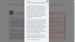 Webmasterwechsel zum 30. Juni 2019 in Eisingen