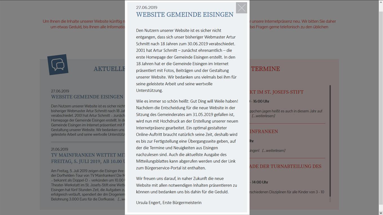 Webmasterwechsel zum 30. Juni 2019 in Eisingen. Quelle: Eisingen.de