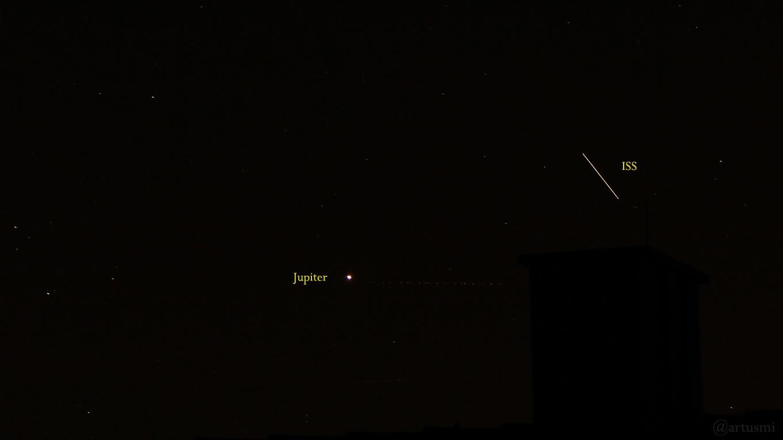ISS passiert Jupiter am 20. September 2019 um 21:24 Uhr