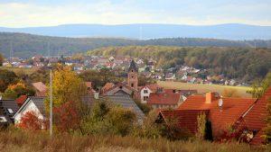 Blick auf Eisingen und Waldbrunn am 11. Oktober 2019