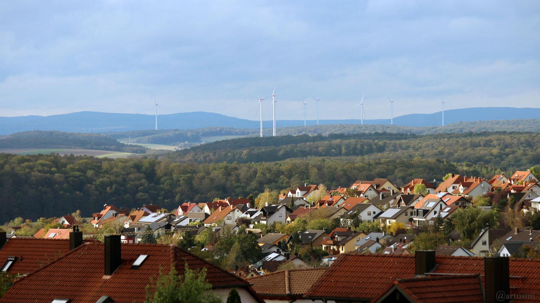 Blick über Eisingen in den Spessart am 11. Oktober 2019