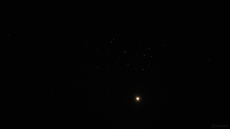 Venus nähert sich den Plejaden - Aufnahme vom 2. April 2020 um 20:35 Uhr