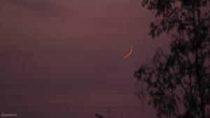 Schmale Mondsichel am 24. April 2020 um 21:21 Uhr erstmals nach Neumond sichtbar