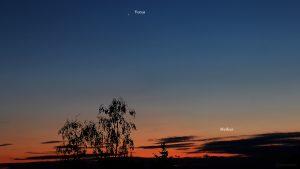 Venus und Merkur am 16. Mai 2020 um 21:45 Uhr am NW-Horizont von Eisingen