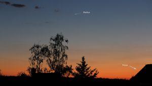 Merkur und Venus am 28. Mai 2020 um 21:56 Uhr
