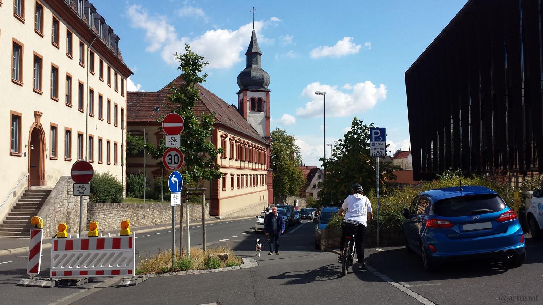 Zeller Straße in Würzburg stadteinwärts am 2. September 2020