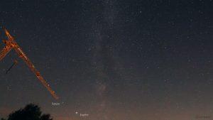 Saturn und Jupiter am 9. September 2020 um 23:15 Uhr am Südwesthimmel von Eisingen