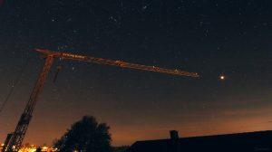 Südwesthimmel in Eisingen mit Orion, Stier und Mars am 20. Oktober 2020 um 04:27 Uhr