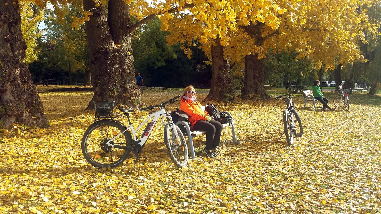 Mäggi Schmitt während einer Fahrradtour am 24. Oktober 2020 am südlichen Maindreieck