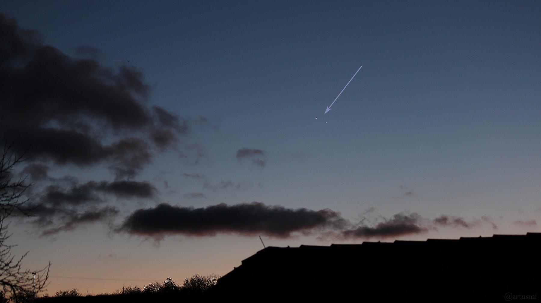 Jupiter und Saturn am 25. Dezember 2020 am Südwesthimmel von Eisingen