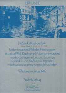 Urkunde der Stadt Würzburg für den Einsatz anlässlich des Hochwassers im Januar 1982