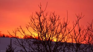Abendrot während des Sonnenuntergangs am 11. Februar 2021