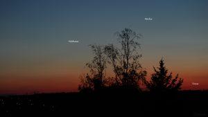 Aldebaran, Merkur und Venus am 7. Mai 2021 am West Nordwesthimmel von Eisingen