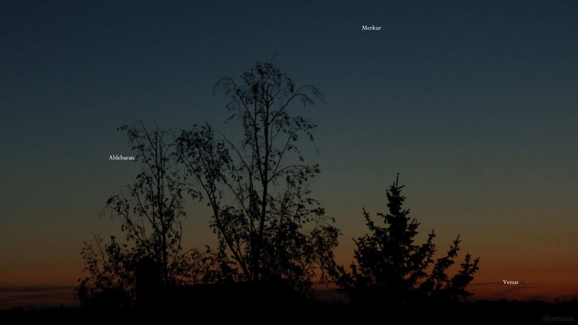 Aldebaran, Merkur und Venus am 8. Mai 2021 am West Nordwesthimmel von Eisingen