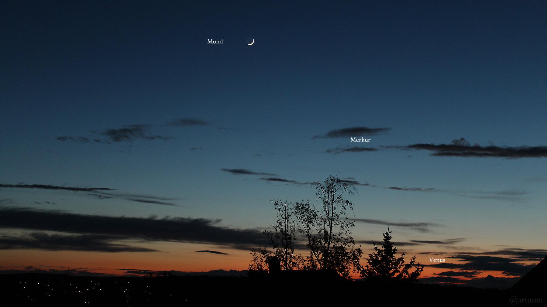 Konstellation zunehmender Mond, Merkur und Venus am 14. Mai 2021