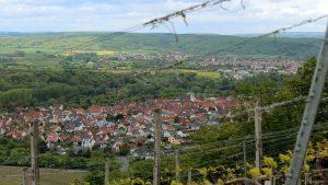 Blick vom Naturschutzgebiet Höhfeldplatte auf Thüngersheim und nach Zellingen im Lkr. Main-Spessart