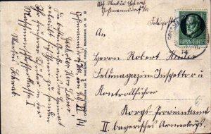 Rückseite der Ansichtskarte aus Goßmannsdorf vom 29. November 1914