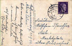 Rückseite der Ansichtskarte aus Goßmannsdorf vom 11. September 1943