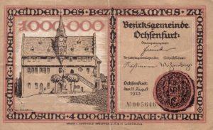 Notgeld aus dem Jahr 1923 - Eine Million - Vorderseite