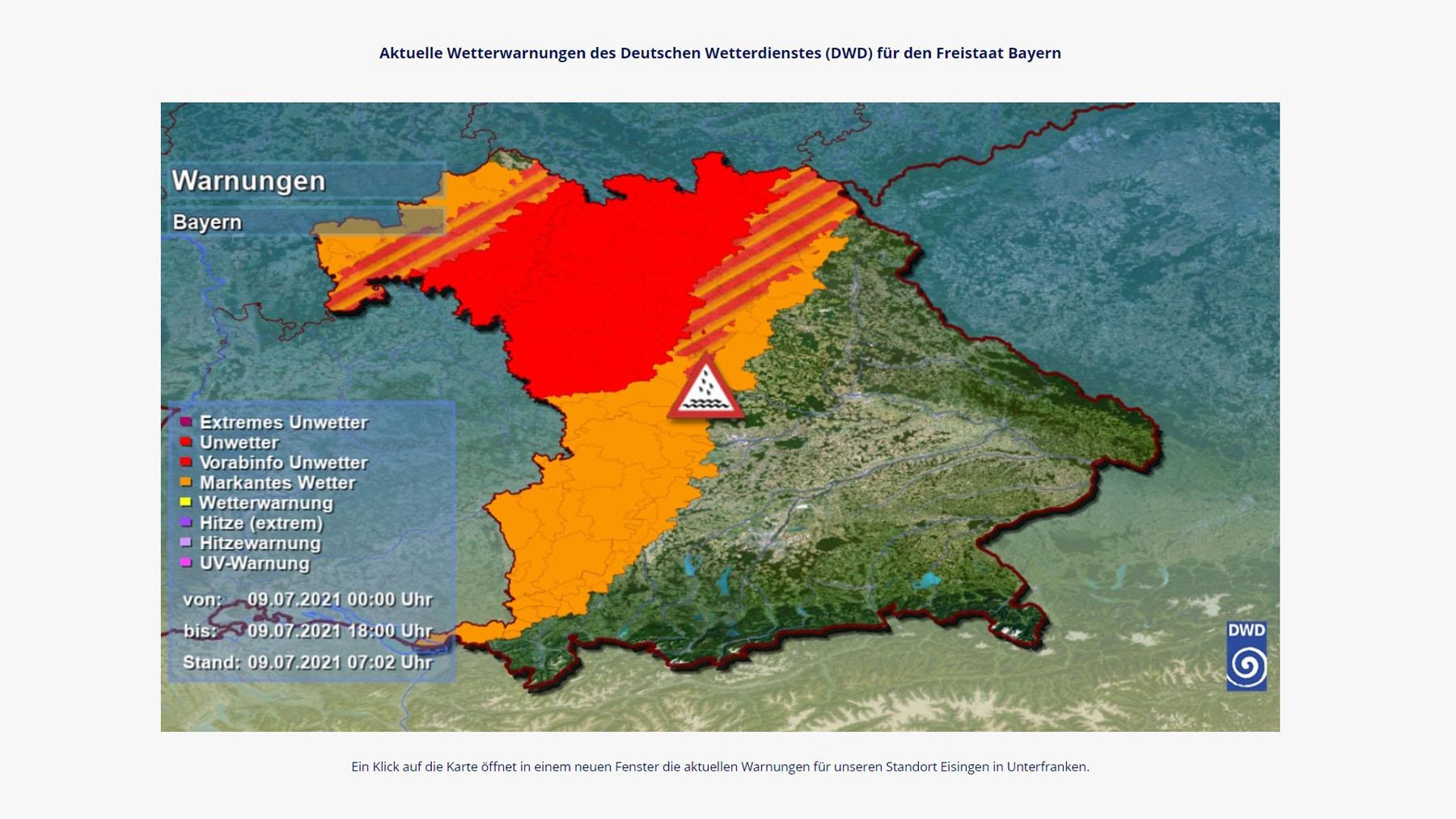 Aktuelle Wetterwarnungen des Deutschen Wetterdienstes am 9. Juli 2021 für den Freistaat Bayern